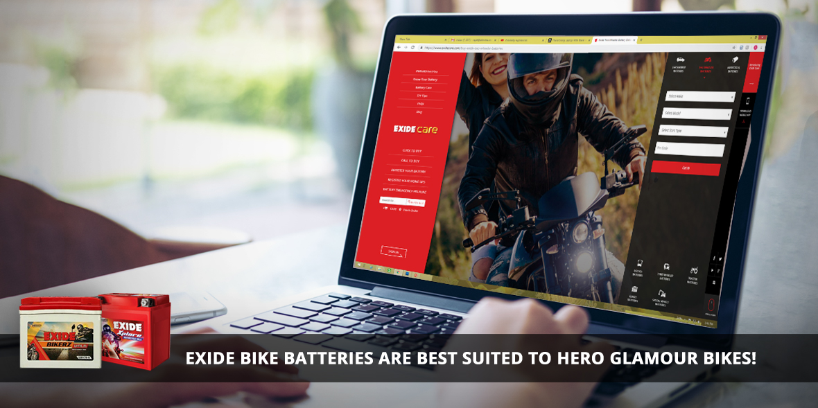 Exide bike batteries are best suited to Hero Glamo