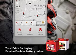 Trust Exide for buying Passion Pro bike battery on
