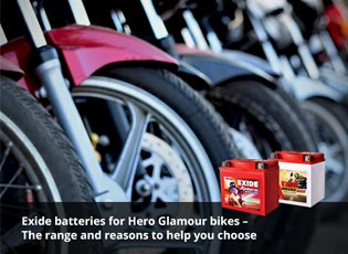 Exide batteries for Hero Glamour bikes - The range