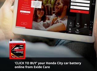 'Click to buy' your Honda City car battery online